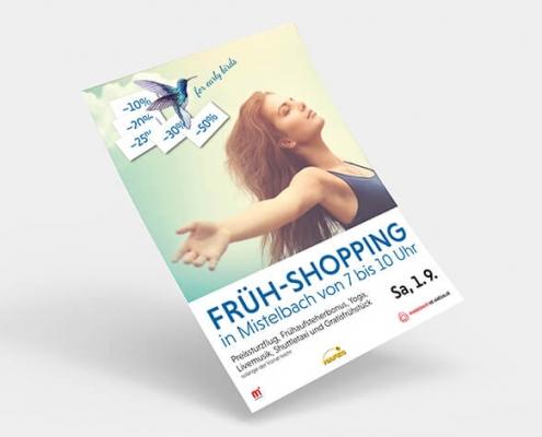 Früh-Shopping Plakat