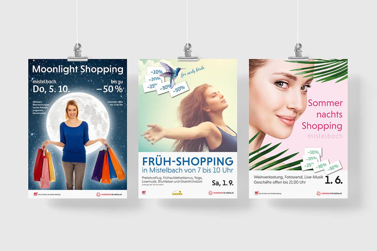 Werbung für Einkaufsevents